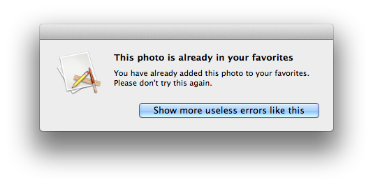 useless error message