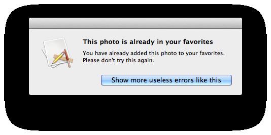 useless error message