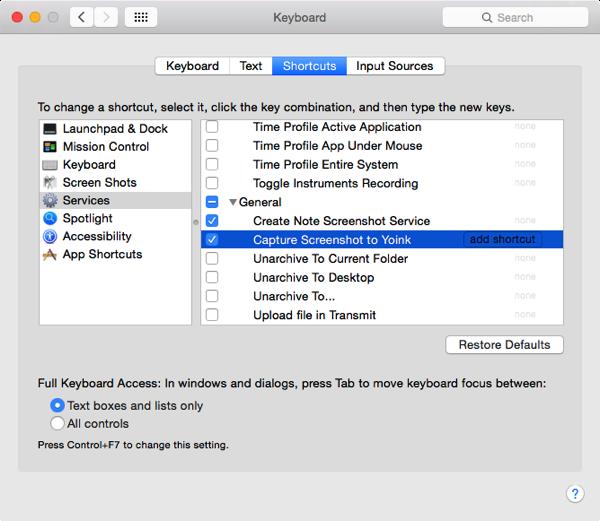 Screenshot System Preferences Keyboard Shortcuts