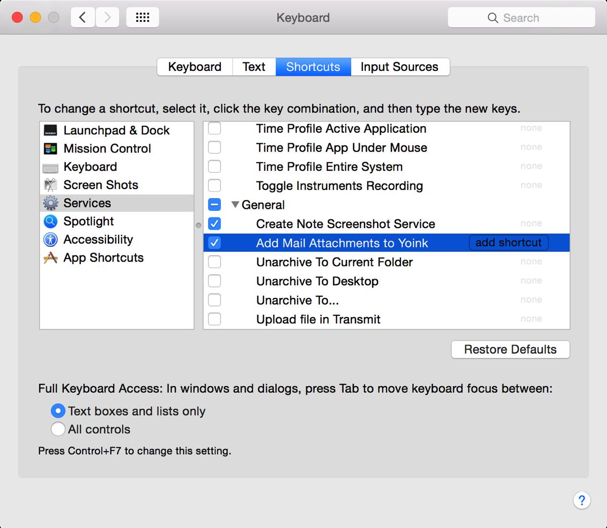 Service - Keyboard Shortcut