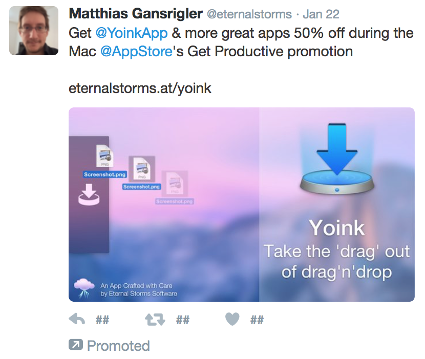 Yoink's Sponsored Tweet on Twitter