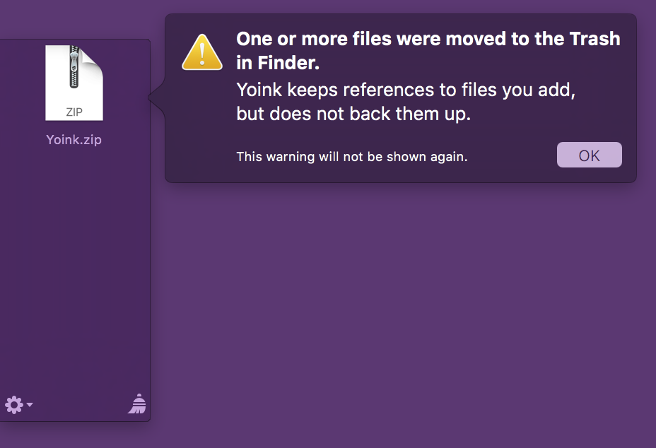 A warning message when a file residing in Yoink is moved to the Trash in Finder