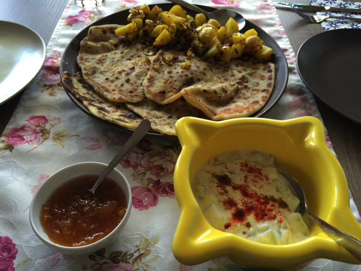 Parathas with Potatoes and Mango Chutney